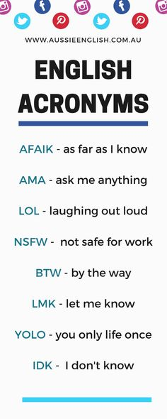 Native speakers use abbreviations and acronyms all the time Learn the most common English abbreviations and acronyms! The post Common English Abbreviations English Acronyms appeared first on Woman Casual - Life Quotes Slang English, Gcse English, English Tips, English Fun, English Idioms, English Phrases, English Words, English Lessons, English Vocabulary