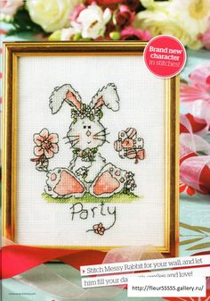 Cross-stitch Messy Bunny Party, part 1..