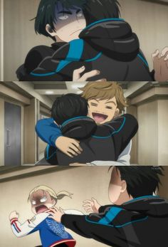 Yuri hugging Seung-Gil, Emil Nekola and Yurio Plisetsky. Episode 9