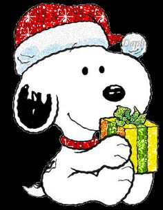 snoopy christmas photo: Snoopy with Christmas Gift SnoopyChristmas.gif