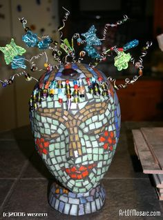 styrofoam head painting | ... Glass, Wire Beads, Plastic Insects, Glass Gem on Styrofoam Head