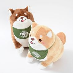 These little guys are just so happy to see you! Can't you see how they're crouching down ready to pounce on you with a fierce leap of love? There are two different puppy **plushies** available - **Anko** and **Kinako** but each is a lovely **Shiba Inu** style dog with **perky ears** and **curly tail** on the back. Each is also wearing a cute little **bib** and is just crying out for a belly rub! T...