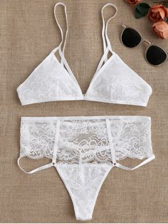 143ffc37f4 vintage lingerie · Cut Out High Waisted Banded Lace Bra Set - WHITE M  Swimwear