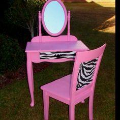 Pink Zebra Vanity And Chair