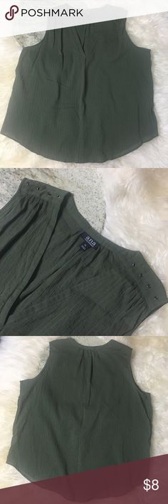 """A.N.A Olive Sleeveless Top Olive colored sleeveless top, 100% textured cotton with shoulder detail. Measures 24"""" pit to pit 26.5"""" length Excellent pre owned condition no rips or stains. a.n.a Tops"""
