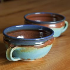 Janet Williams Pottery. Perfect soup mugs or extra big cocoa/coffee mugs! Love the colors.