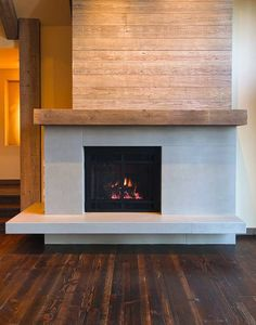 Concrete Wood Gas Fireplace Design Small Fireplace, Concrete Fireplace, Farmhouse Fireplace, Fireplace Hearth, Home Fireplace, Fireplace Remodel, Modern Fireplace, Fireplace Surrounds, Fireplace Design