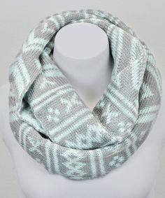 Take a look at this Leto Collection Mint & Gray Fair Isle Infinity Scarf on zulily today!
