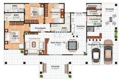 Plano de casa de 3 habitaciones con piscina