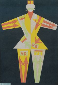 Fortunato Depero (Italian, 1892-1960), Costume per Verzocchi (vestito futurista), 1924. Collage of coloured card, 50.7 x 35.3 cm.
