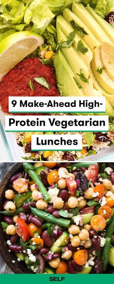 Vegan and vegetarian recipes can be super easy for weekly meal prep. Try this vegetarian quinoa burrito bowl or Mediterranean three-bean salad for fast, healthy high-protein lunches to bring to school or work. #vegan #vegetarian #clean #healthy #food #recipe