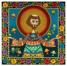 Andréa Horn: São Francisco e os 14 passarinhos Catholic Art, Religious Art, Faith Crafts, Paint Drop, Dot Art Painting, Arte Popular, Naive Art, Angel Art, Pattern Illustration