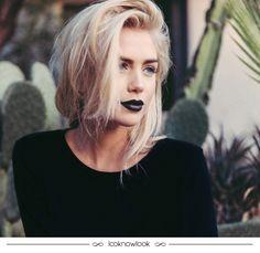 Inspiração: Batom preto! #maquiagem #batom #makeup #beleza #tendência #beauty #lips #lipstick #trend #dicas #inspiração #lnl #looknowlook