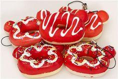 red Rilakkuma bear head donut squishy charm 1