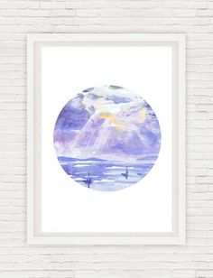 Circle Art Sunset Painting Sunrise Wall art Ocean Watercolor Landscape, Sky Round Signed Prints, Sea Abstract Seascape Print, Blue Cloud  Signed high quality fine art print of my original watercolor painting.  Size paper: 21 cm x 29,7 cm, 8 1/4 x 11.5/8, A4.(with white borders) - 18.00 $  29,7cm × 42cm, 11,69 × 16,54, A3(with white borders) - 36.00 $  Other dimensions are available upon request The paper used for my watercolors paintings is watercolour paper 200g/m - 50%cotton....