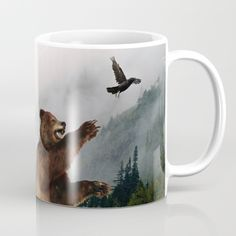 Available in 11 and 15 ounce sizes, our premium ceramic coffee mugs feature wrap-around art and large handles for easy gripping. Dishwasher and microwave safe, these cool coffee mugs will be your new favorite way to consume hot or cold beverages.  https://society6.com/product/the-trickster-raven--grizzly-bear-art-print-ixz_mug?curator=skyeryanevans