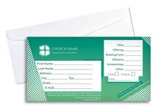 Green Offering Envelope - Download this easy to use Photoshop template and update it with your own church information and logo.