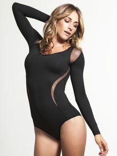 Tap into your inner dancer during your next workout with this long sleeve bodysuit from Michi. Their ultra-luxe fabric has an outstanding feel while still wicking away moisture to keep you cool and dry, and the bikini style bottom gives your legs a full range of motion whether you're wearing the bodysuit on it's own or with your favorite pair of leggings.