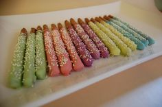 Easter colored Chocolate Covered Pretzels