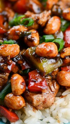 Easy Kung Pao Chicken ~ quick and easy Chinese inspired recipe that can be ready in less than 30 minutes, using mostly ingredients from your pantry