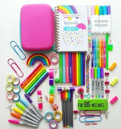 stationery Source by ozlemeba Stationary Store, Stationary School, School Stationery, Cute Stationery, Middle School Supplies, School Suplies, Cute Pens, Too Cool For School, School Organization
