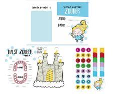 Památeční karta pro děti +samolepky - Zoubková víla - modrá