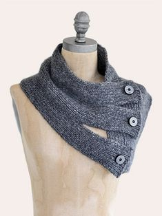 Design by Vladimira Cmorej An original cowl with button closure knit with  Techno yarn baby extra fine merino) from Blue Sky Alpacas. e7018cd41a7