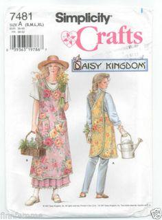 Simplicity 7481 DAISY KINGDOM Full Wrap APRON Sewing Pattern UNCUT Size S-XL VTG