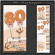 Vintage DL 80th Birthday Topper Cardkit 1294 on Craftsuprint - View Now!