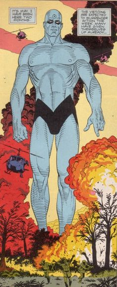 Dr Manhattan Gives the Finger! Main/Person of Mass Destruction - Television Tropes & Idioms Comic Book Superheroes, Comic Books Art, Comic Art, Quis Custodiet Ipsos Custodes, Dr Manhattan, Weapon Of Mass Destruction, Destroyer Of Worlds, Tv Tropes, Shinigami