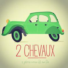 """Illustration de 2CV """"2 galops"""" / """"2 zèbres"""". Pour toi fils ! By #seveusmz"""