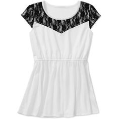 Faded Glory Girls' Baby Doll Top with Lace