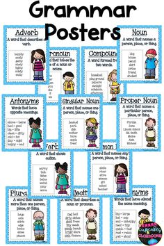These basic grammar posters can be hung on a Focus wall to study the different concepts. Each poster has a definition and an example. Grammar Practice, Teaching Grammar, Grammar Lessons, Grammar Help, Grammar Activities, Grammar Worksheets, Tracing Worksheets, Family Activities, Basic Grammar