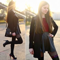 Ariadna Majewska - Black Classic Coat, Leather Skirt - The end of winter