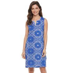 Women's Caribbean Joe Bandana Print Tank Dress, Size: Medium, Blue Other