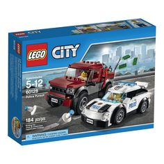Take a drive around the city in the police supercar! Suddenly you hear on the radio that someone has stolen a safe. Turn a corner and spot the crook trying to break into it and then chase after him in his pickup truck if he tries to get away. Race ahead of him to set up the police cones and stop the bad guy. It's always a busy and exciting day in LEGO® City!