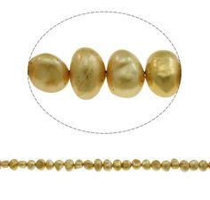 Baroque Cultured Freshwater Pearl Beads for making diy Jewelry Bracelet necklace yellow, 7-8mm Approx 14.7 Inch Strand