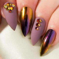Matte False Nails - Chrome Stiletto Nails - Crystal Press On Nails - Pointy Fake Nails - Mirror Acrylic Nails - Color Shifting Glue On Nails Chrome Nails Designs, Gel Nail Designs, Mauve Nails, Purple Nails, Purple Sparkle, Gorgeous Nails, Pretty Nails, Stiletto Nails, Gel Nails