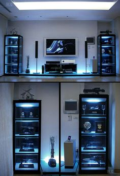 Not a huge Star Wars fan but. Ultimate Star Wars Room Decor-need to get shelving like this for the sabers!