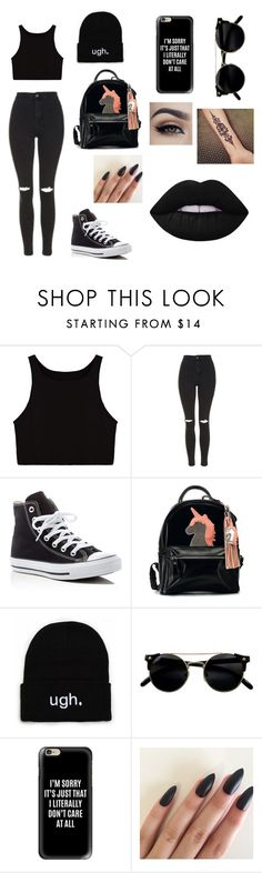 """BLACK OUT"" by brinleyguillena ❤ liked on Polyvore featuring Topshop, Converse, Casetify and Lime Crime"