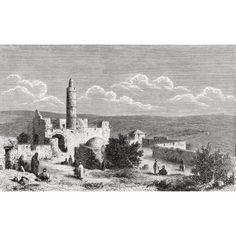 The Tower Of David Ancient Citadel Located Near The Jaffa Gate Entrance To The Old City Of Jerusalem Palestine In The 19Th Century From El Mundo En La Mano Published 1875 Canvas Art - Ken Welsh Desig