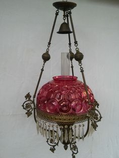 Antique Ruby Red Moon & Stars Pattern Hanging Duplex Oil Lamp c. 1880 Victorian #Victorian