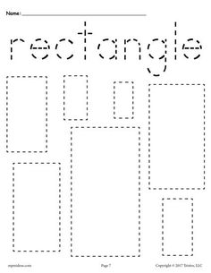 FREE preschool tracing shapes worksheets. Includes a rectangle tracing worksheet plus 11 other shapes tracing worksheets. Great for toddlers too! Get them all here --> http://www.mpmschoolsupplies.com/ideas/7545/12-free-shapes-tracing-worksheets/