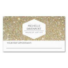 ELEGANT WHITE EMBLEM GOLD GLITTER APPOINTMENT CARD TEMPLATE - click to personalize with your own info