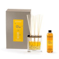 """Esteban Paris Amber Scented Bouquet - Subtle amber fragrance with a citrus accent and vanilla woody hints. Each gift box includes a vase, its deco filler, a ceramic cap, 20 perfume sticks (8.5""""h) and a scented bouquet refill. 250ml/8.45 fl oz."""
