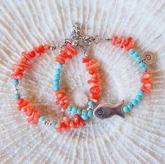 Coral Bracelet Turquoise Bracelet Charm Bracelet by CharmByIA, FREE SHIPPING