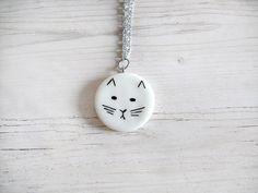 Collana gatto astratto porcellana fredda cerchio bianco elegante geometrica collane per donna amanti gatti collane lunghe gioielli fashion
