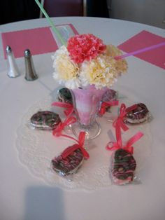 Soda fountain centerpieces ~ so different and sweet.  Decorated pretzels for favors!!