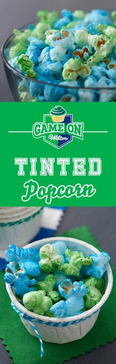 A must-have at any sporting event, tinted popcorn is a great way to show off your team pride! Also fun for baby showers, weddings or birthday parties, this tinted popcorn is super easy and takes less than 10 minutes to make. Use Color Mist Food Color Spray to create popcorn in all the colors of the rainbow!