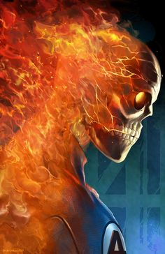"The Human Torch /// by Brian Joseph P. Valeza /// For the record, I'm not a huge Fantastic 4 expert...but I'm pretty positive Johnny's skin doesn't burn off when he ""flames on."" That's Ghost Rider..."